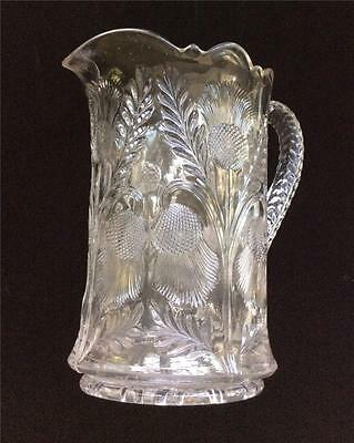 EAPG CAMBRIDGE Late Inverted Thistle Pattern Heavy Glass Pitcher