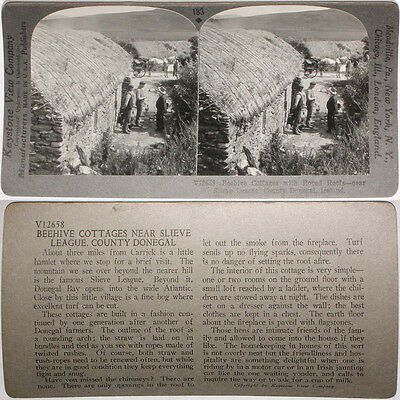 Keystone Stereoview Beehive Cottages in Donegal, IRELAND From RARE 1200 Card Set