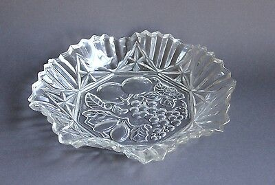 "Vintage Federal Glass Pioneer Fruit 11"" Crimped Ruffle Round Bowl Serving Plate"