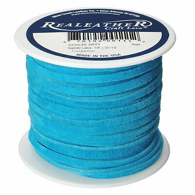 """Suede Lace Turquoise 1/8"""" x 25 yds. by Silver Creek Real Leather Made in USA"""