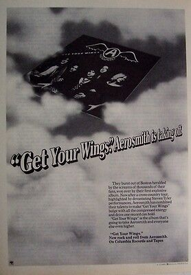 AEROSMITH 1974 mini Poster Ad GET YOUR WINGS