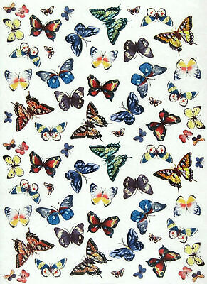 Rice Paper for Decoupage, Scrapbook Sheet, Craft Colorful Butterflies