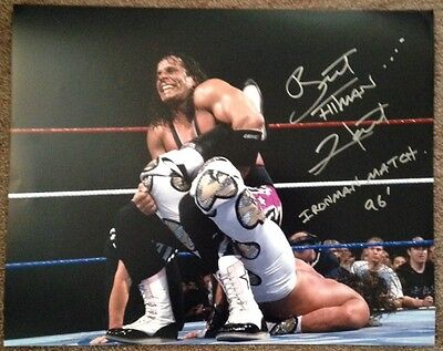 WWF WWE Bret Hart Autographed 16x20 Photo Signed w/ Inscription Ironman Match