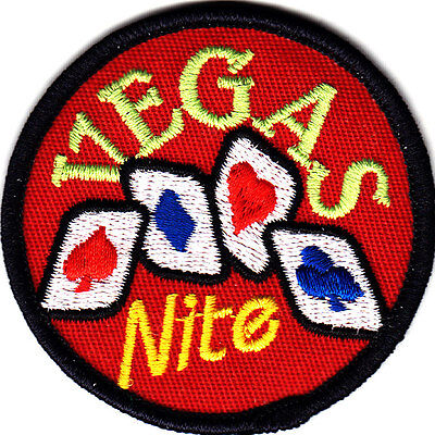 """""""VEGAS NITE"""" w/CARDS/ Iron On Embroidered  Patch /Games,  Entertainment,Gambling"""