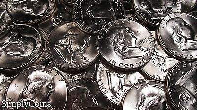Mixed Date Franklin Half Dollar ~ BU Uncirculated ~ 90% Silver US Coin Lot Set