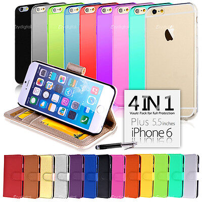 """Wallet & Gel 4in1 Accessory Bundle Kit Case Cover For Apple iPhone 6 Plus 5.5"""""""