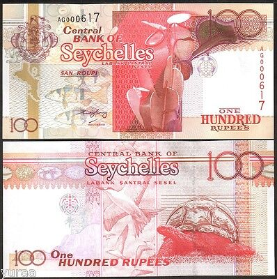 Seychelles - 100 Rupees ND (2001) UNC, Pick 40 (2005) Red Number