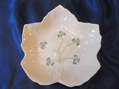 Belleek Autumn Leaf Dish Ireland ~ Shamrock Design