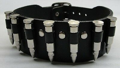 Manzoor Genuine Leather Choker Necklace with Bullets Adjustable Buckle USA Made
