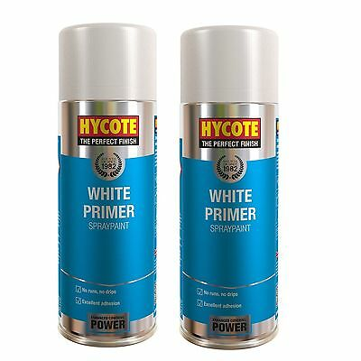 2 x Hycote White Primer Car, Van, Bike Spray Paint / Aerosol 400ml