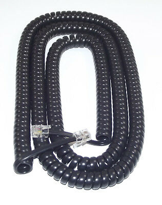 EXTRA LONG Black Coiled Curly Telephone Handset Cord (25 Foot / 7.6m) RJ10 4P4C