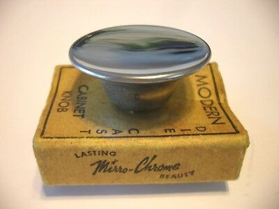 "Vintage NOS 1-1/2"" Round CHROME KNOBS Concave Dished Atomic 1950's Mirro-Chrome"