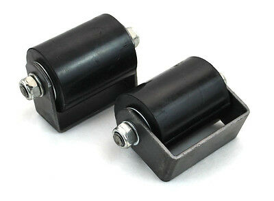 """Sliding Gate Top Guide Roller Pair 3"""" Hard Rubberized W/Weld On Mounting Bracket"""