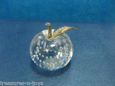 VINTAGE GLASS PAPERWEIGHT BRASS LEAF AND STEM CONTROLLED BUBBLES