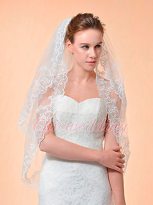 Ivory 2T Elbow Length Embroidered Edged Wedding Veil Bridal Applique with Comb