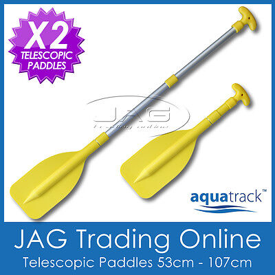 2 x AQUATRACK MINI YELLOW TELESCOPIC OARS PADDLES - Boat/Inflatable/Canoe/PWC