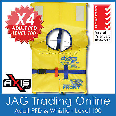 4 x AXIS ADULT PFD1 LEVEL L100 LIFEJACKET Standard Life Jacket & SAFETY WHISTLE