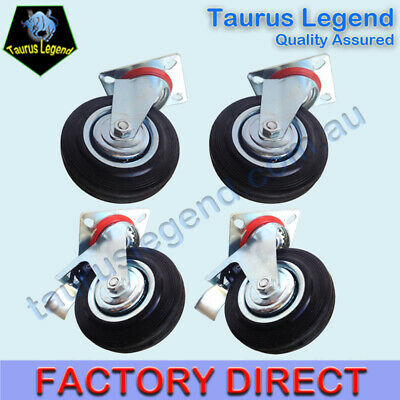 "4 X 5"" HEAVY DUTY SWIVEL CASTORS 125mm 2 with Brakes Castor Caster Wheel"