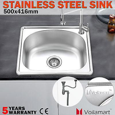 Single Square Bowl Laundry Stainless Steel Kitchen Sink 500x416mm Catering