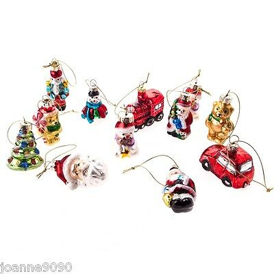 GISELA GRAHAM BOX 12x GLASS TRADITIONAL CHRISTMAS TREE ORNAMENT DECORATIONS GIFT