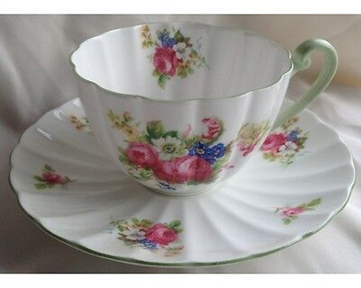 Fancy Shelley Large Pink Cabbage Rose Bouquet Cup and Saucer