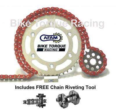 Suzuki GSXR1000 K1-K6 01-06 AFAM Red Chain & Sprocket Kit + Rivet Tool