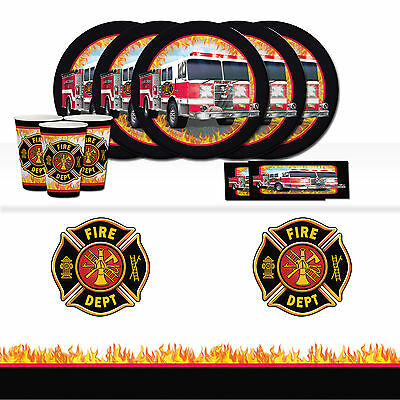 Fire Watch Firefighter Truck Children's Birthday Party Tableware Pack Kit For 8