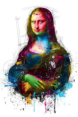 Mona Lisa Colourful Abstract WALL ART CANVAS FRAMED OR POSTER PRINT