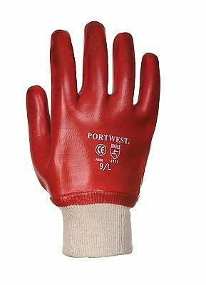 Portwest PVC Fully Dipped Knitwrist Work Gloves Safety Workwear A400