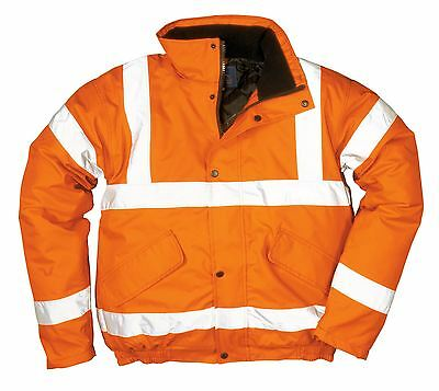 Portwest HI VIS Bomber Jacket Coat GO/RT Padded Lined Hooded Safety Work RT32
