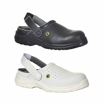 Portwest ESD Perforated Safety Clog Shoe Light Work Toe Cap Chef Baker FC03