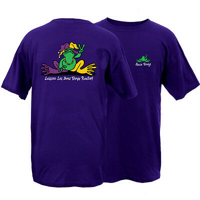 Peace Frogs Frog Mardi Gras Medium T-Shirt