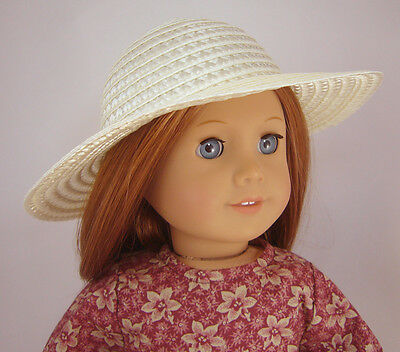 """Cream Ivory Straw Hat Bonnet made for 18"""" American Girl Doll Clothes"""