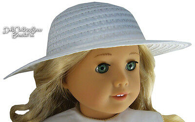 """White Straw Sun Hat Bonnet made for 18"""" American Girl Doll Clothes"""