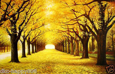 """Large Oil painting forest landscape yellow trees in autumn season canvas 24X36"""""""