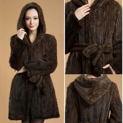 Genuine Knitted Mink Fur Coats Jacket With Hooded Real Furs Outwear Women C0117