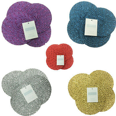 Metallic Effect Pack Of 4 Round Coasters (4in Diameter Approx) - 7 Colours
