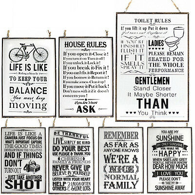 Glass Metal Frame Plaque Quote Home Hanging Message Gift Rope Present Office New