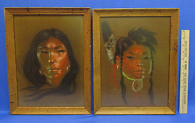 2 Nancy McLaughlin Powell Paintings Framed Native American Indian Mother & Child
