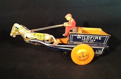 RARE Vintage Strauss Co. Tin wind up toy Wildfire Trotter # 35 1920s made in USA