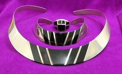 925 Solid Sterling Silver Onyx Torc & Bangle & Ring