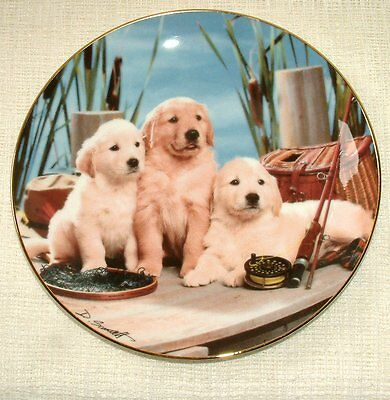 ROYAL DOULTON Franklin Mint PLATE Dog/Puppy REEL PALS