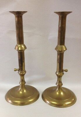 Historic Charleston Brass Queen Anne style 12in.  Push-up Candlesticks