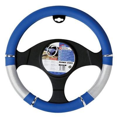Power Blue & Silver/chrome Steering Wheel Cover /glove -Universal To Fit 37-39Cm