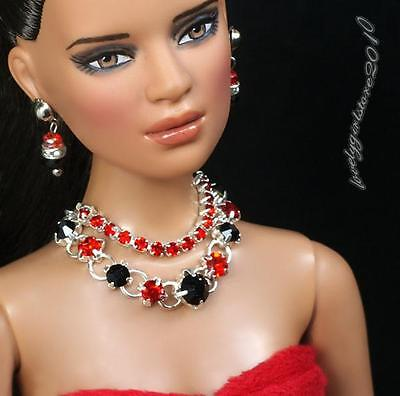 """Rhinestone Necklace and Earring Jewelry Set for 16"""" Tonner Tyler 094B"""