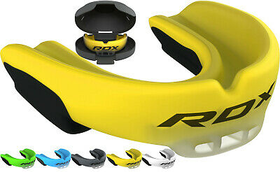 RDX Air Gel Gum Shield & Case Mouth Guard Boxing MMA Junior Adult Rugby Box Yelw