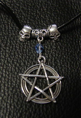 PENTAGRAM NECKLACE WITH SKULLS & LEATHER CORD Wicca Witch Pagan Goth PENTACLE
