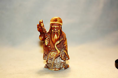 ANTIQUE CARVED  FIGURE OF SHOULAO GOD OF IMMORTALITY