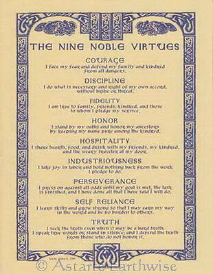 NINE NOBLE VIRTUES POSTER A4 SIZE Wicca Pagan Witch Goth BOOK OF SHADOWS