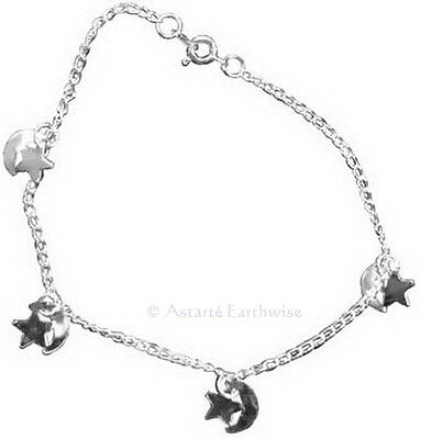 STARS & MOONS ANKLET Wicca Witch Pagan Belly Dance Goth Punk Hippie